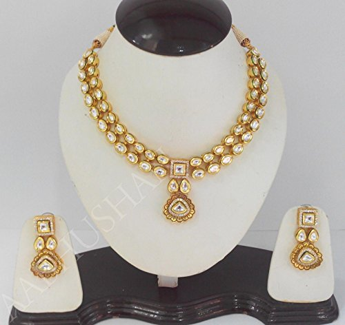 ANTIQUE GOLD PLATING KUNDAN SET