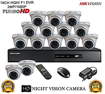 Hikvision DS-7216HQHI-E2 16CH Dvr, 14(DS-2CE56DOT-IRP) Dome Cameras (With Mouse)