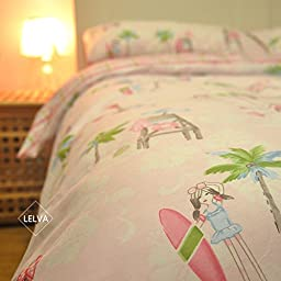 LELVA Surf Girl Pattern Pink Kids Bedding Summer Bedding Hawaiian Style Duvet Cover Set 4 Piece (Fitted Sheet, Queen)