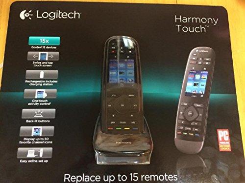LOGITECH HARMONY TOUCH REMOTE CONTROL BLACK 915-000252 w/ Swipe & Touch Screen