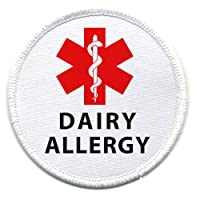 DAIRY ALLERGY Red Medical Alert 3 inch Sew-on Patch from Creative Clam