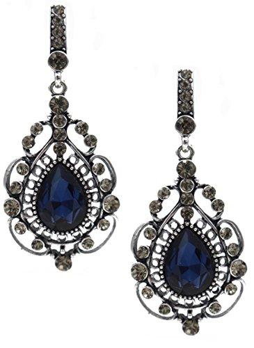 Totoroforet Vintage Victoria Style Blue Swarovski Element Crystal Earrings---Tranquil Sapphire Blue