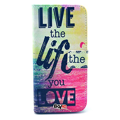 Bayke Brand / Iphone 6 Case Pu Leather Wallet Type Flip Case Cover With Credit Card Holder Slots For Apple Iphone 6 Air (4.7-Inch) (Live The Life You Love Pattern Design Print)