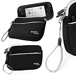 DURAGADGET Pink 8 Neoprene Carry Case For New Wii U Controller - With Front Zipped Pocket and Adjustable Removable Wrist Strap Black
