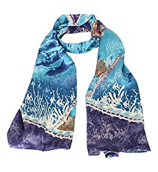 Olina Women's High-Grade Elegant 100% Luxury Long Silk Scarf (Underwater World)
