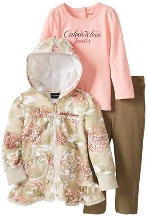 (新品)女宝三件套Calvin Klein Baby-Girls Infant Printed Hoody And Pant$41.99