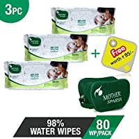 Mother Sparsh Baby Wipes - 98% Water Wipes (80 Usable Wipes) (Pack of 3) + 1 Reusable Baby Kit FREE