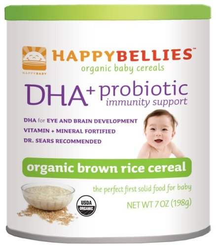 HAPPYBELLIES Oganic Baby Cereals, DHA + Probiotic, Organic Brown Rice Cereal, 7-Ounce Canisters (Pack of 6)