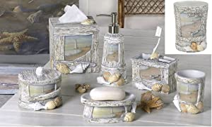 At the beach 7 piece resin bathroom for Best place for bathroom accessories