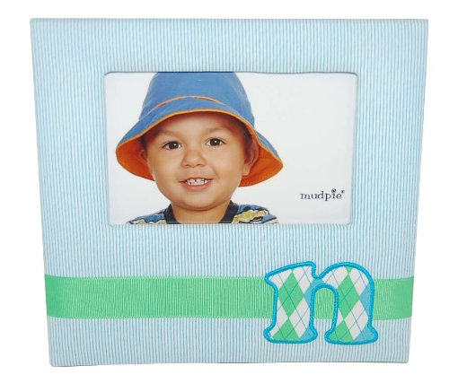 Mud Pie Initial Baby Boy Blue Initial Fabric Frame, Letter N front-888464