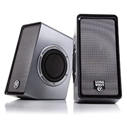 GOgroove SonaVERSE O2 Computer Speaker System with Passive Subwoofers & USB-Powered Stereo Design - Works with Acer , Apple , HP and more Desktop , Laptop & Multimedia Devices