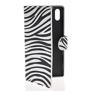 Amazon.com: HUAZHUN Zebra style Leather Wallet Side Card Slot Stand ... Zebra T3