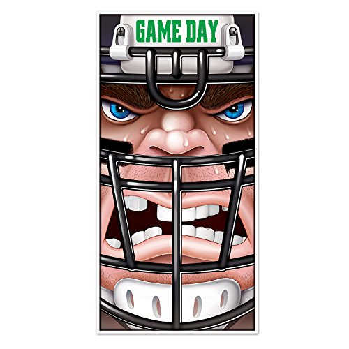 Beistle Football Door Cover, 30 by 5-Feet, Multicolor (Patriots Party Supplies)