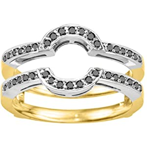 Two Tone Sterling Silver Wedding Ring Guard (0.38 CT. Black Diamonds).