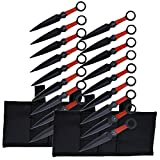 Perfect Point PP-060-9 Throwing Knife Set with Nine Knives, Black Blades, Red Cord-Wrapped Handles, 6-1/4-Inch Overall, 2-Pack (18 Knives)