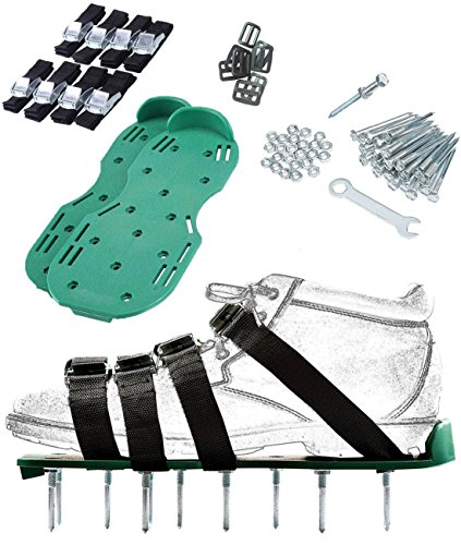 Lawn Spikes Aerator Shoes 4 Straps for Grass Nylon Plug Lawn Aerator Sandals with Zinc Alloy Buckles