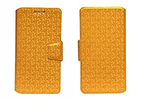 J Cover Aafreen Series Leather Pouch Flip Case With Silicon Holder For Lava Iris 456 Golden