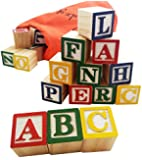 30 Alphabet Blocks with Letters Colors. Wooden ABC Toddler, Preschool & Kindergarten Building Toy. Wood Reading Stacking with Carrying Tote