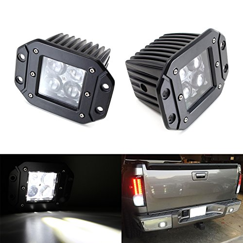 iJDMTOY (2) Dually Flush Mount 4D Optic Projector Lens CREE LED Pod Lights For Truck Jeep Off-Road ATV 4WD 4x4 As Search Lights, Fog Lights, Driving Lamps, Backup Reverse Lights, etc (Reverse Light Mounting Bracket compare prices)