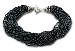 Italian Styled Black Glass Seed 39 Strand Necklace with Balinese Toggle Clasp