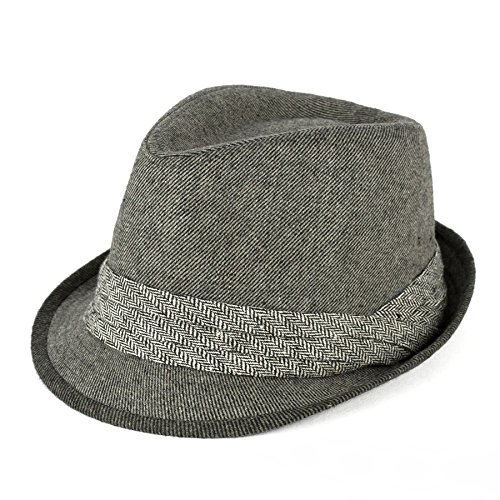 Men's Ladies Trilby Hat Barleycorn/Stripe With Pleated Crossover Band - Grey (57/M)