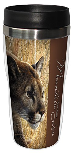 Tree-Free Greetings 25909 Carl Brenders Mountain Lion Sip 'N Go Stainless Lined Travel Mug, 16-Ounce