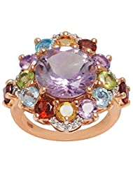 PINK AMETHYST, CITRINE, GARNET, PERIDOT, BLUE TOPAZ, WHITE TOPAZ & ROSE GOLD PLATED 925 STERLING SILVER RING JEWELRY...