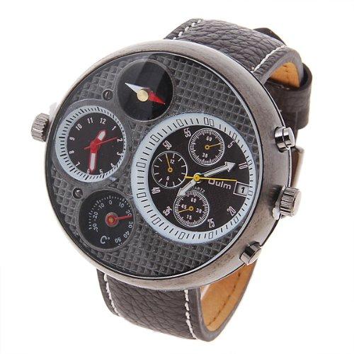 10 Brown Two Dual Time Display Quartz Mens Military Army Sport Wrist Watch