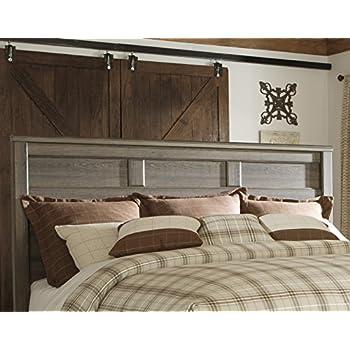 FurnitureMaxx Juararoy Casual Dark Brown Color Replicated Rough-Sawn Oak Bed Room Set, King Bed, Dresser, Mirror, Two Nightstands