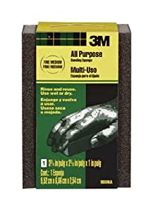 3M Small Area Sanding Sponge, Fine/Medium, 3.75-Inch by 2.625-Inch by 1-Inch