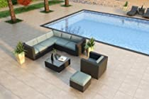Hot Sale Luxe Urbana 8 Piece Wicker Outdoor Sofa Sectional Set with Sunbrella Canvas Spa (5413-0000) Cushions