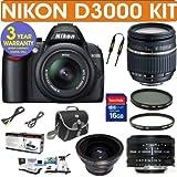 NIKON D3000 Digital SLR Camera + Tamron AF 18-250mm Zoom Lens + .43x Wide Angle Lens + Nikon 50mm 1.8 Lens + 3 Year Celltime Warranty