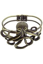 Antique Gold Metal Octopus Bracelet