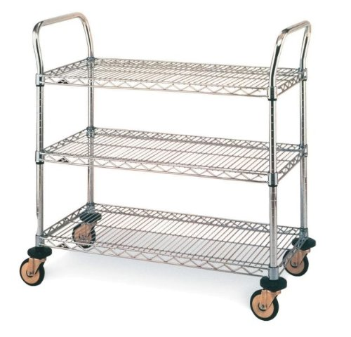 Metro MW Series Stainless Steel Wire Utility Cart, 3 Shelves, 375 lbs Capacity, 24