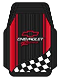 Plastcolor 1350R01 Chevy Racing with Flag Trim-To-Fit Molded Front Floor Mats - Set of 2