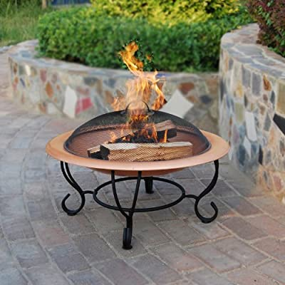 Sicily Copper Effect Firepit - Large Fire Bowl Garden Heater Bbq Fire Pit