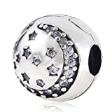 Clear Twinking Night Clip Charm - Authentic 925 Sterling Silver Stopper Beads - Fit European Bracelet
