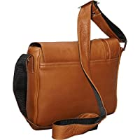 David King Deluxe Leather Medium iPad Messenger Bag with Inlay