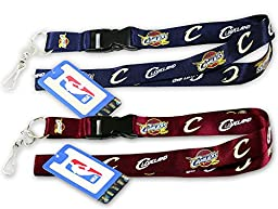 NBA CLEVELAND CAVALIERS (2) LANYARD KEYCHAIN, Blue and Red (Velcro Quick Release)