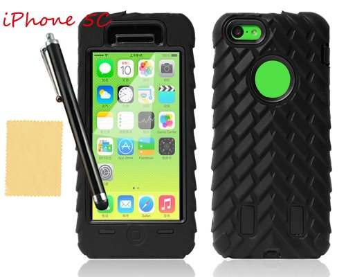 Tradekmk(Tm) Dual Layer 3-Piece Wheel Grain Hard Soft Armor Case Cover For Apple Iphone 5C(Black), With Screen Protector+Stylus+Cleaning Cloth
