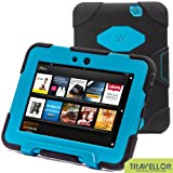 "Kindle Fire Hd 7"" Cover Case New Hot Item High Quality Slim Fit Silicone Plastic Dual Protective Back Cover Standing Case Kid Proof Case for Amazon Kindle Fire Hd 7 Inch(will Not Fit Hd or HDX Models)-multiple Color Options (Black/Light Blue)"