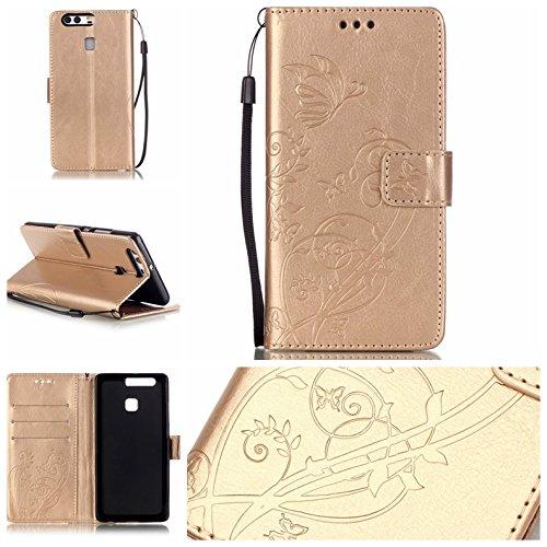 Camiter Prägung Schmetterling Wallet Case Schutzhülle Standfunktion Handytasche Hülle Magnetverschluss Klapp Brieftasche Lederhülle Weich Silikon Skin Back Cover für Huawei P9 (Gold)