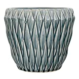 Bloomingville Diamond Round Ceramic Flower Pot, Large, Blue