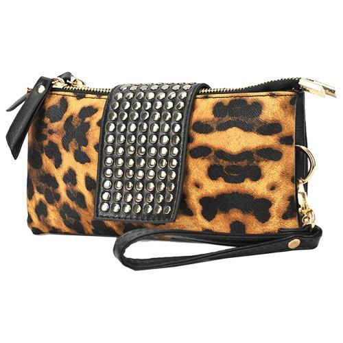 Zeagoo Women'S Rivet Leopard Wallet Handbag Evening Bag