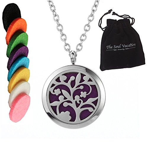 Essential Oil Diffuser Necklace - Tree of Life - Aromatherapy Pendant, Velvet Jewelry Bag, Extra Pads (Humidifier Nano compare prices)
