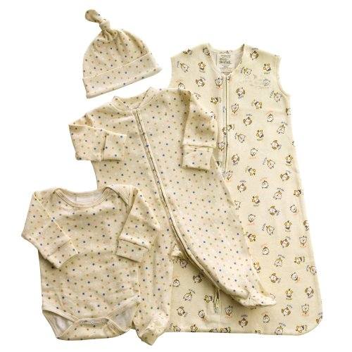 Halo Innovations 4-Piece Organic Layette Set - Cats and Dogs, Small