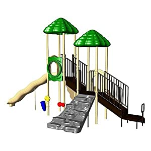 PlayCore Up & Up Swing Set Size-Color - Deluxe Climber Wall with Ultra Mountain Climber - Natural Palette