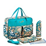 L.Sense Deluxe Multi-function Large Tote Baby Diaper Bag Set (Turquoise)