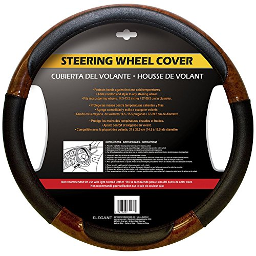 Automotive Innovations Wood Grain Polyvinyl Chloride Universal Fit Steering Wheel Cover