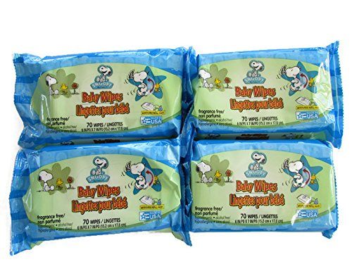 Snoopy by Schultz Baby Wipes (Economy Pack of 4) 280 Wipes Total